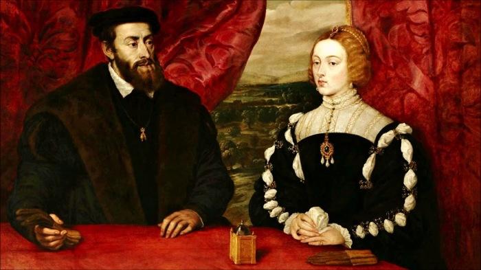 Карл V Габсбург - обладатель 27 корон с супругой Изабеллой Португальской. \ Фото: youtube.com.