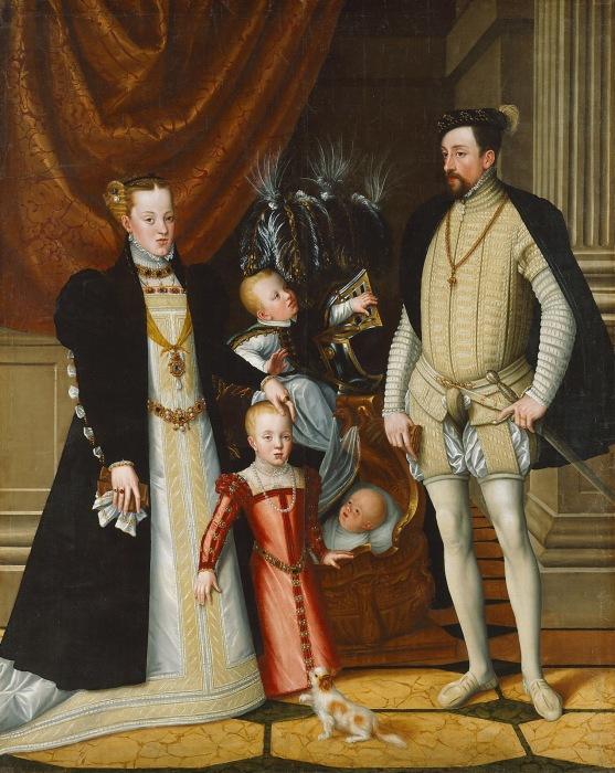 <br>Максимилиан II Габсбургский (1527-1576), его жена Мария Габсбургская (1528-1603) и их дети Анна (1549-1580), Рудольф (1552-1612) и Эрнест (1553-1595). \ Фото: gettyimages.com.