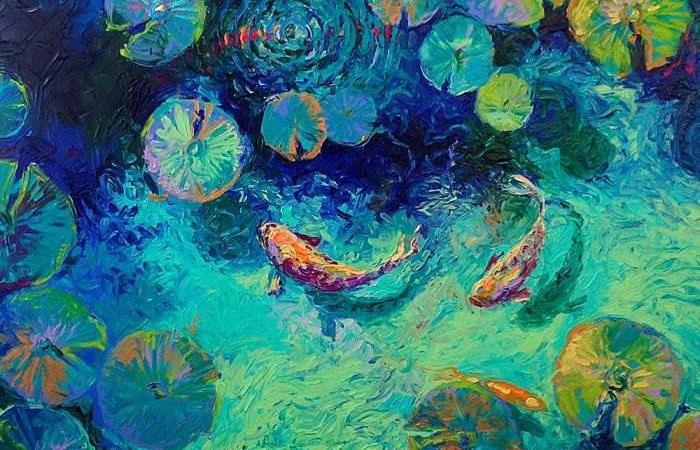 Пруд с рыбками. Автор: Iris Scott.