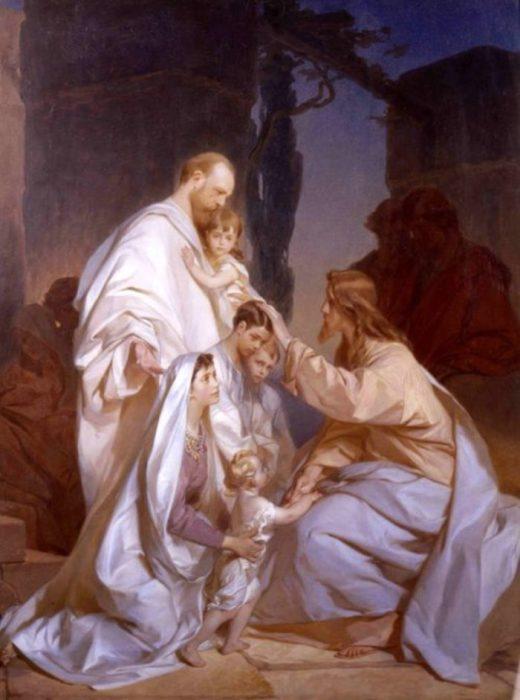 «Благословение Господне на вас» Семья Александра III перед Христом. Автор: Иван Макаров.