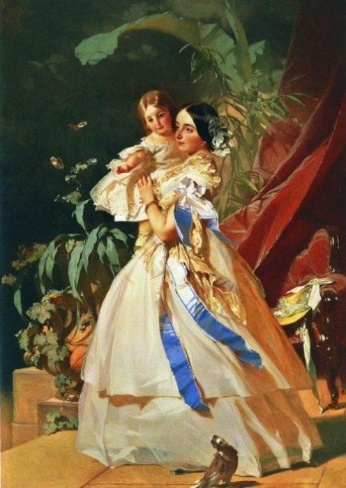 Княгиня Оболенская с ребёнком. Автор: Иван Макаров.