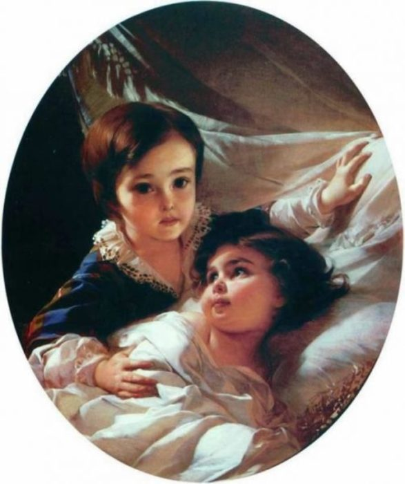 Портрет двух детей (из семьи Толстых). Автор: Иван Макаров.