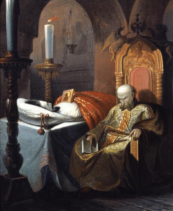 Иван Грозный у тела убитого им сына, Шустов Н.С., 1860-е годы. \ Фото: twitter.com.