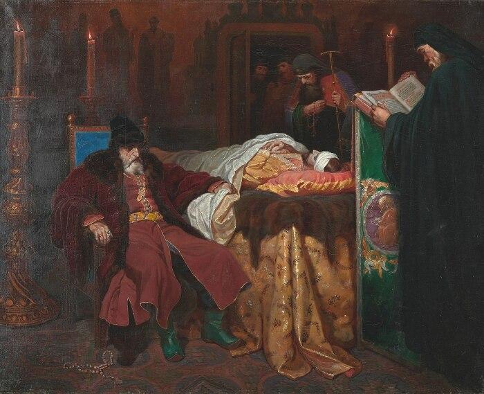 Иван Грозный рядом с телом сына, Вячеслав Шварц, около 1864 года. \ Фото: thecommonviewer.com.