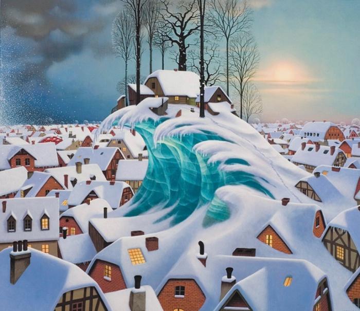 Зимняя волна. Jacek Yerka.