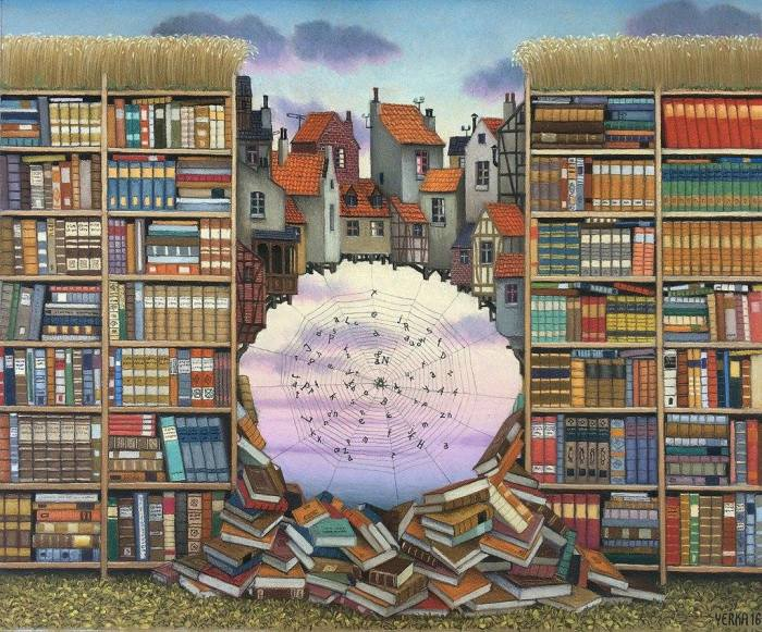 Книжный бум. Автор: Jacek Yerka.
