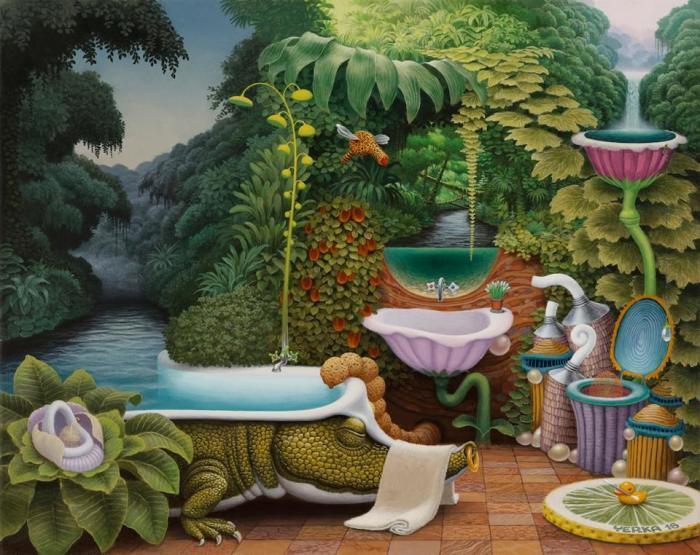 Карманные джунгли - ванная комната. Автор: Jacek Yerka.