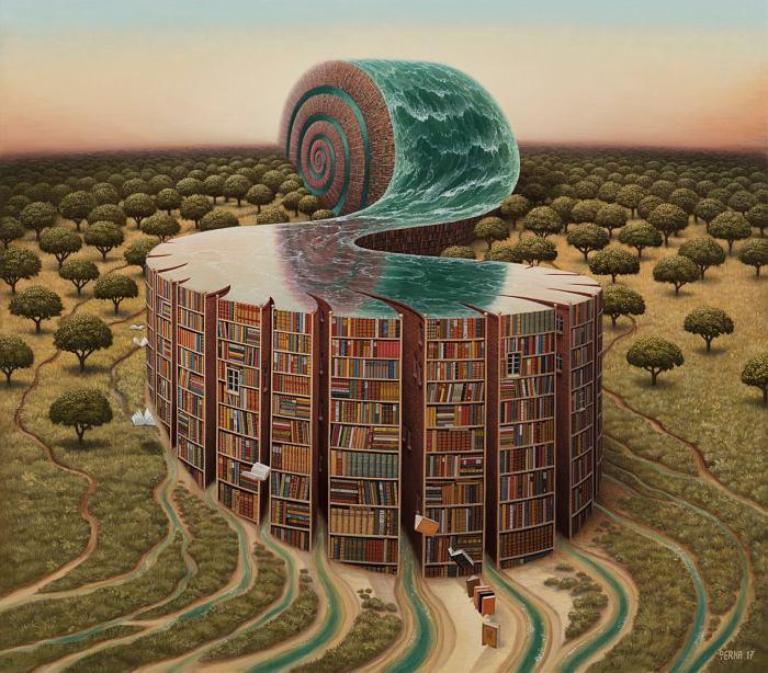 Библиотека аммонита. Автор: Jacek Yerka.