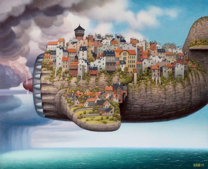 Летающий город. Автор: Jacek Yerka.
