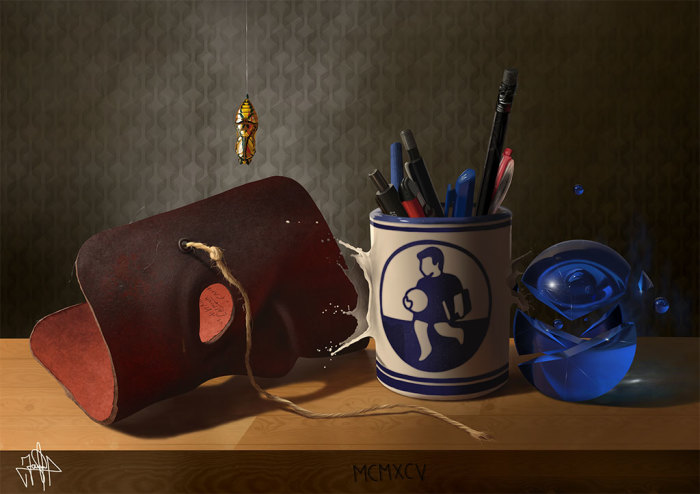 Художник пишет реалистичные картины без красок, кистей и холста
