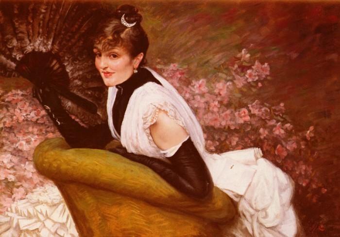 Портрет женщины с веером. Автор: James Tissot.