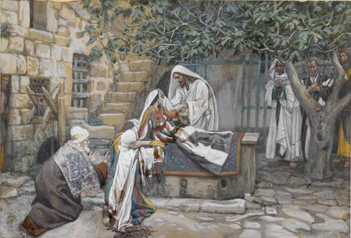 Воспитание дочери Иаира. Автор: James Tissot.