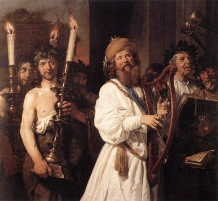 Царь Давид с арфой. Автор: Jan de Bray.