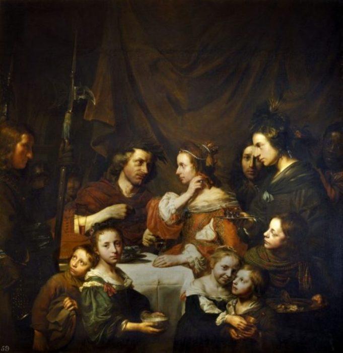 Семейный портрет — Клеопатра кладёт жемчужную серьгу в бокал. Автор: Jan de Bray.