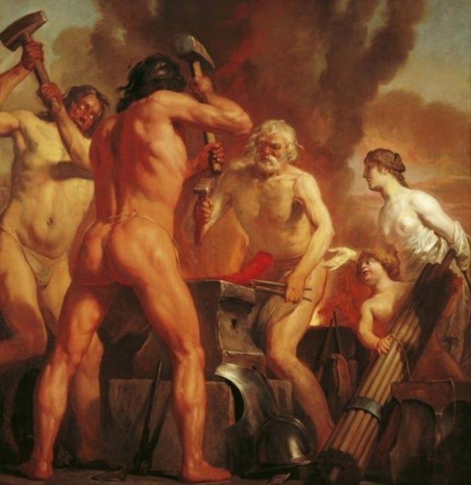 Венера и Амур в кузнице Вулкана. Автор: Jan de Bray.