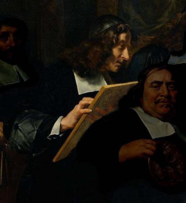Автопортрет на картине с членами гильдии художников Харлема. Автор: Jan de Bray.