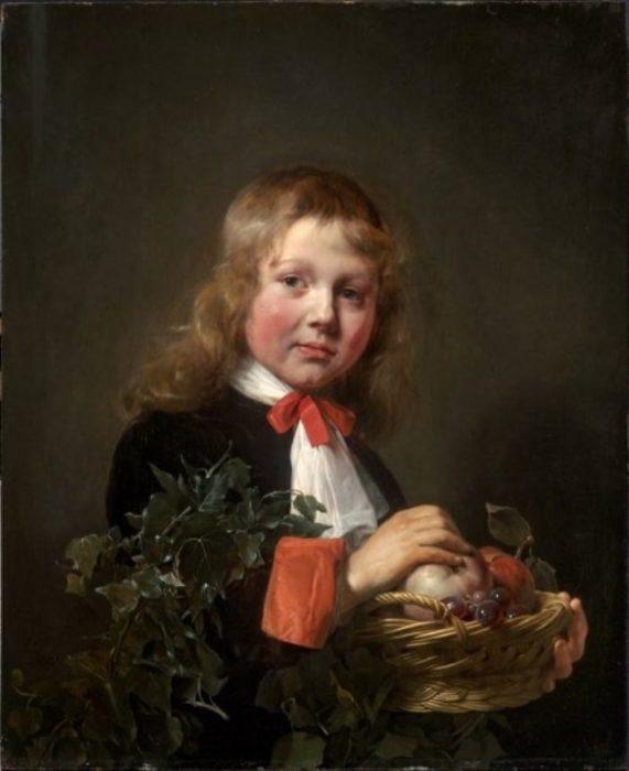 Портрет мальчика, держащего корзинку с фруктами.  Автор: Jan de Bray.