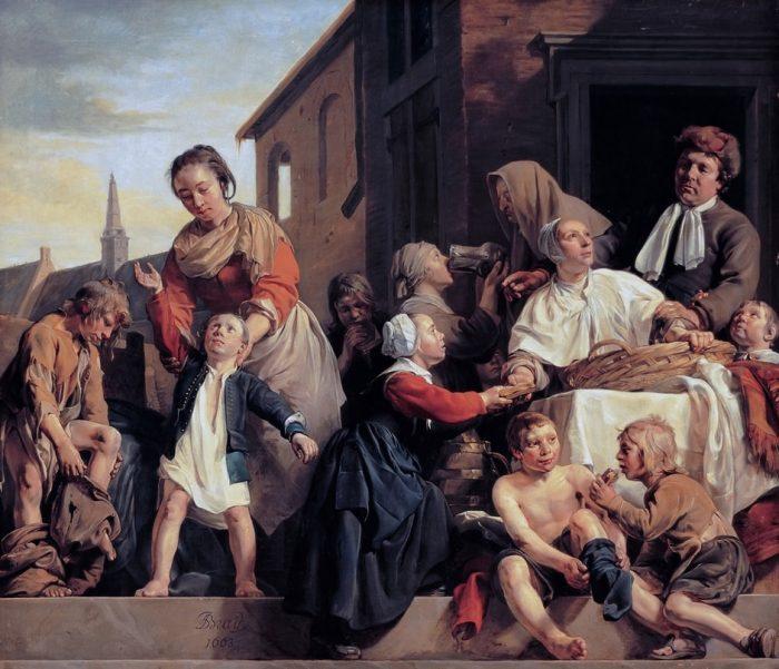 Уход за детьми в детском доме в Харлеме или Три акта милосердия. Автор: Jan de Bray.