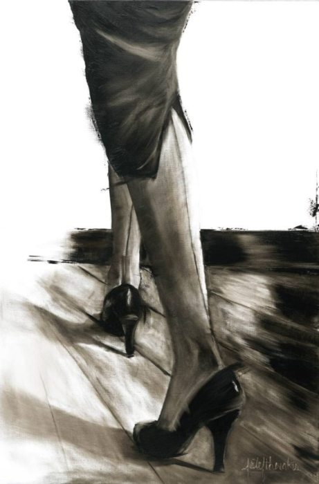 Чулки со швом. Серия работ «Маленькое чёрное платье». Автор: художница-самоучка Джанель Элефтекракис (Janel Eleftherakis).