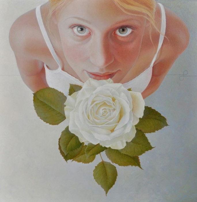 Акриловый  фотореализм: Портреты, на которых художница запечатлела себя в разном возрасте