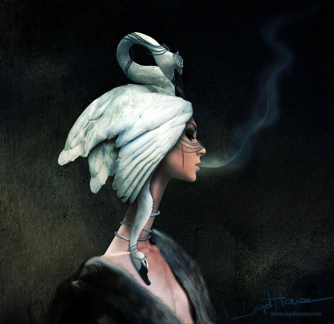 Девушка-лебедь. Автор работ: Япи Хону (Japi Honoo).