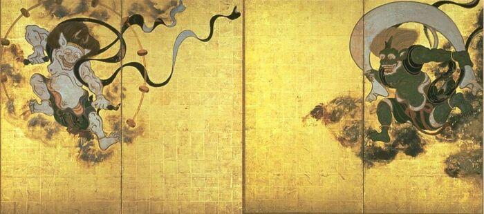Бог ветра и Бог Грома, Таварая Сотацу, XVII век. \ Фото: pinterest.com.
