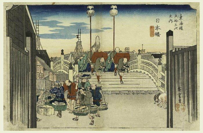 Утренний вид моста Нихон, пятьдесят три станции дороги Токайдо Утагавы Хиросигэ, 1834 год. \ Фото: pinterest.de.