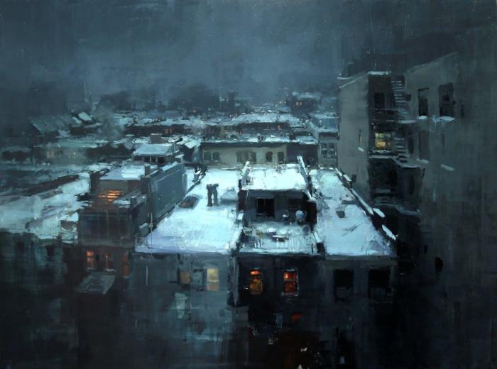 Крыши в снегу. Автор: Jeremy Mann.