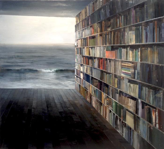 Книжная полка ведущая в бескрайний океан. Автор работ:  Джереми Миранда (Jeremy Miranda).