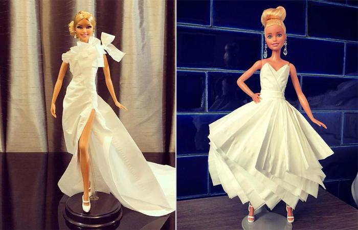 Свадебные платья для Барби, созданные из туалетной бумаги. Автор: Jian Yang.