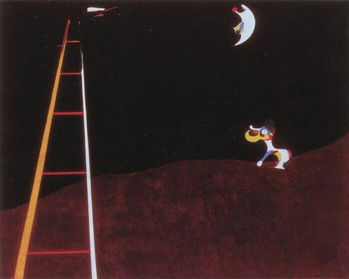 Собака, лающая на луну. \ Фото: joan-miro.net.
