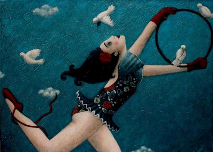 Девушка с птицами. Автор: Johanna Perdu.