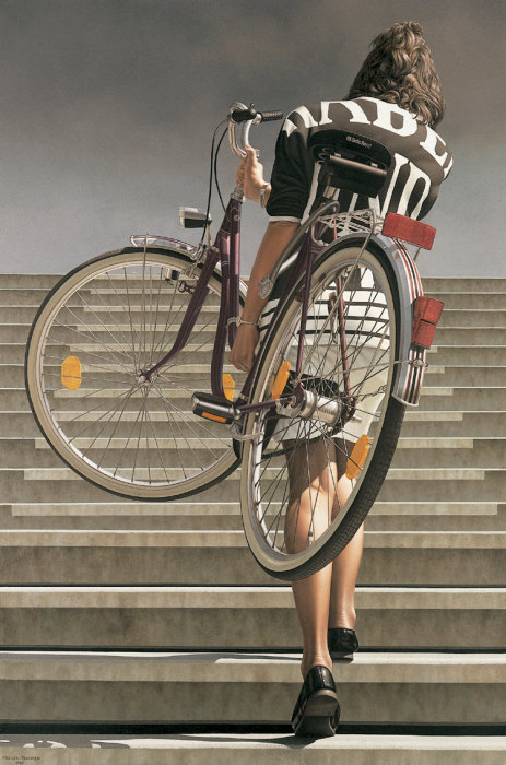 Девушка с велосипедом. Автор Johannes Muller-Franken.