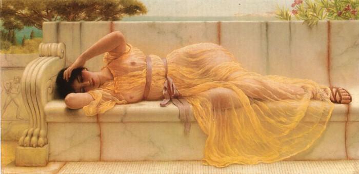 Девушка в жёлтом платье. Автор: John William Godward.