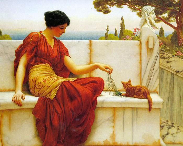 Девушка с кошкой. Автор: John William Godward.
