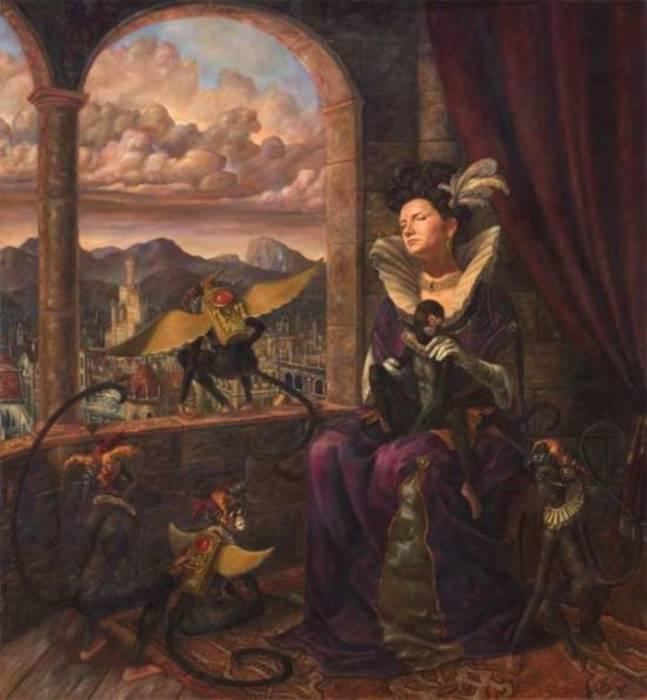 Дама с обезьянкой. Работы современного художника Хосе Парра (Jose Parra).