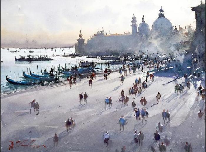 Городские улицы  и деревенское раздолье на теплых акварелях хорватского художника