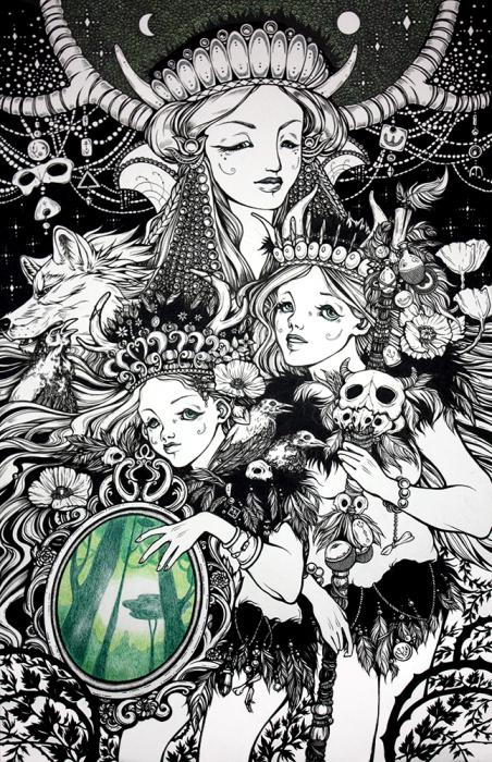 Сёстры шамана и лес. Волшебные рисунки художника Julliane.