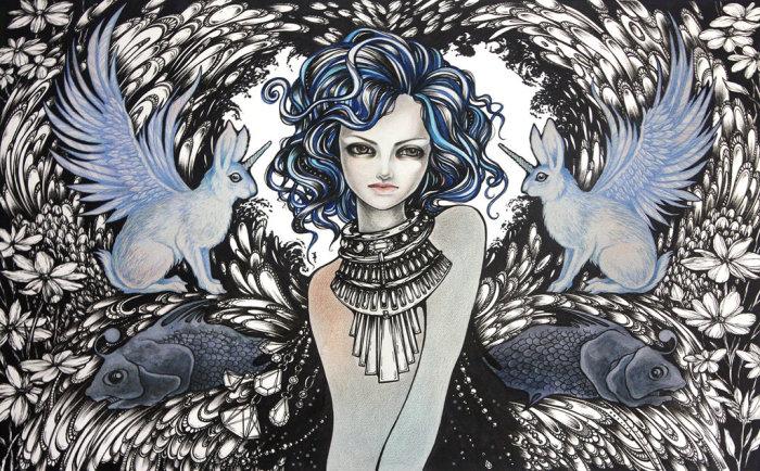 Синие волны. Волшебные рисунки художника Julliane.