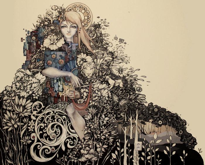 Зачарованный лес. Волшебные рисунки художника Julliane.