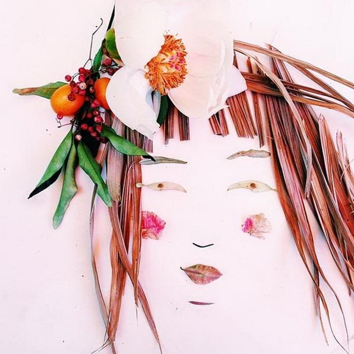 Портреты выполненные из цветов ягод