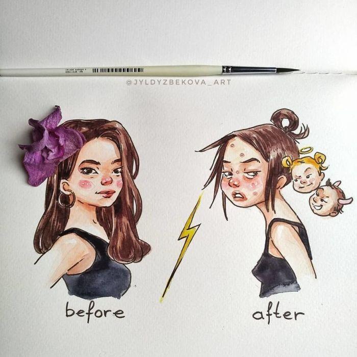 До и после. Автор: Jyldyz Bekova.