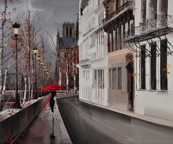 Девушка с красным зонтом. Автор: Kal Gajoum.