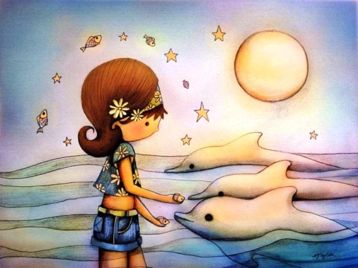 Дельфины. Автор: Karin Taylor.
