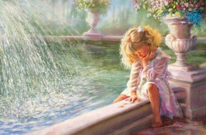 Девочка у фонтана. Автор: Kathryn Andrews Fincher.