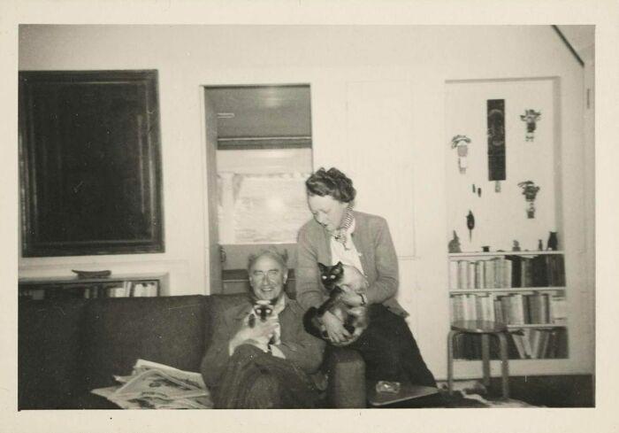 Фотография Кей Сейдж и Ива Танги с кошками, 1950 год. \ Фото: blogspot.com.