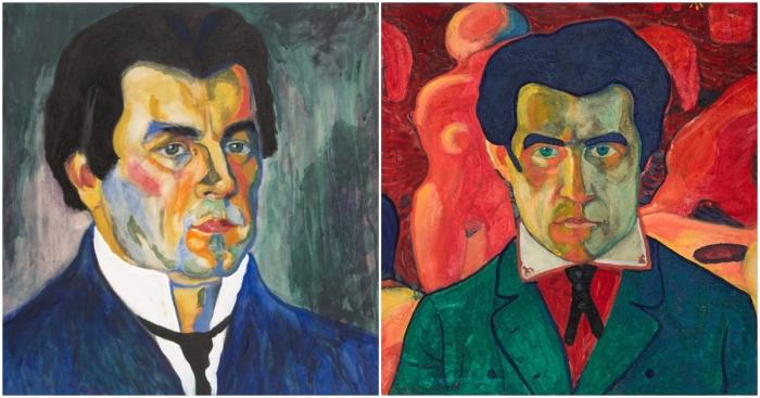 Слева направо: Автопортрет Казимира Малевича, 1910 год. \ Фото: rusmuseumvrm.ru. \ Автопортрет Малевича. \ Фото: wordpress.com.