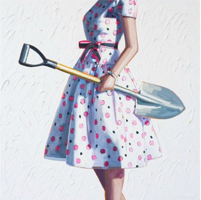 Девушка с лопатой. Картины Келли Римтсен (Kelly Reemtsen).