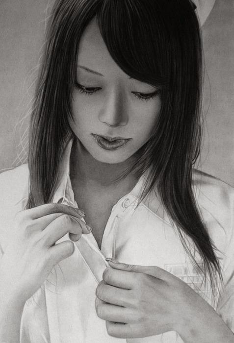 Раскрывая ее секрет (Unbuttoning Secret). Автор работ: художник-самоучка Кен Ли (Ken Lee).