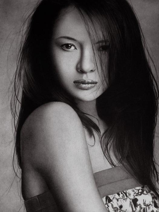Чжан Цзыи - день непослушных волос (Zhang Ziyi - Bad hair Day). Автор работ: художник-самоучка Кен Ли (Ken Lee).